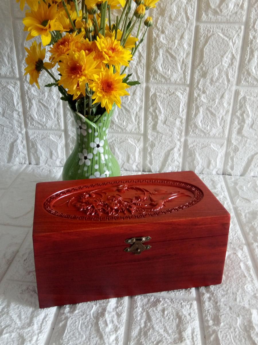 Hộp đựng nữ trang và trang điểm gỗ hương trạm mặt tích chim hoa bảy tấc - TS7T