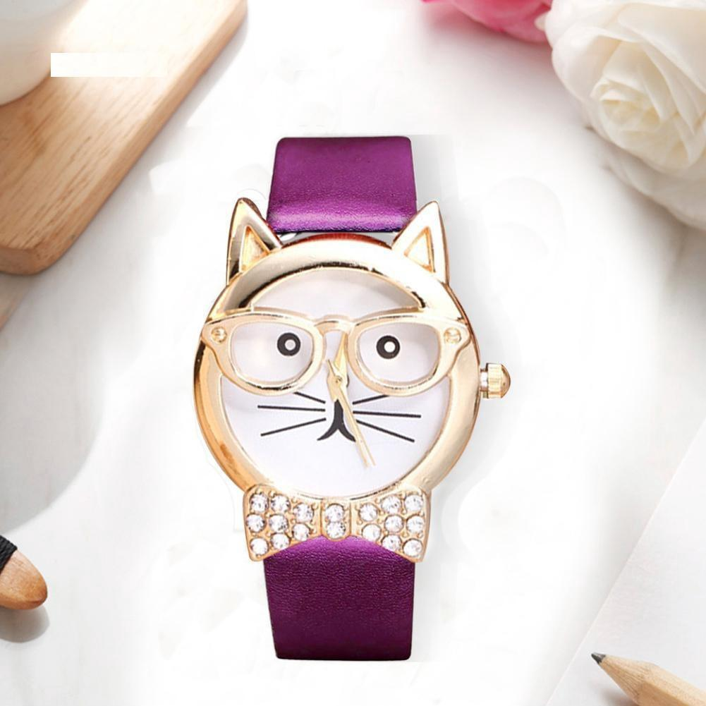 Đồng hồ nữ dây da hình mặt mèo đeo kiếng dễ thương - tím