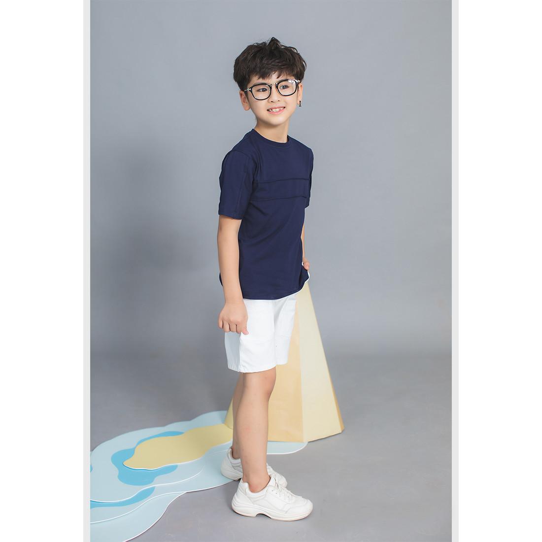 Set bộ BT áo thun xanh đen quần kaki trắng Lovekids - LK0344 - 4y