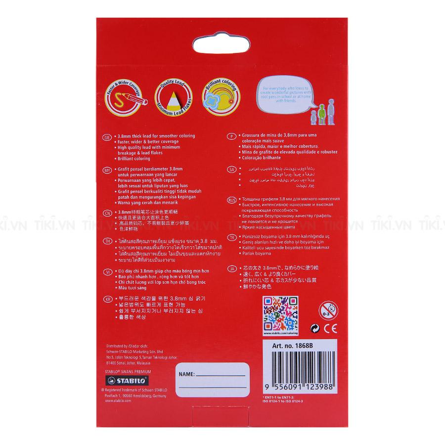 Bút Chì Màu Stabilo Swans Premium Edition 3.8mm (36 Cây Dài/Hộp) + Sách Tô Màu Stabilo Free Your True Colors