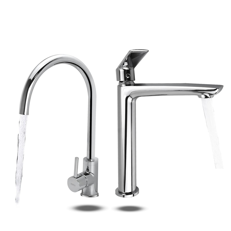 Combo vòi bếp KF-923 + vòi lavabo KF-765 đồng gương sáng bóng cao cấp Hiwin