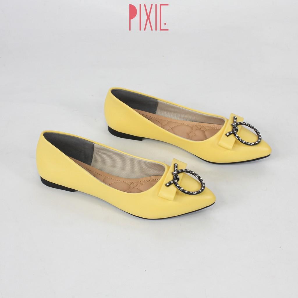 Giày Búp Bê Mũi Nhọn Khóa Tròn Pixie X489