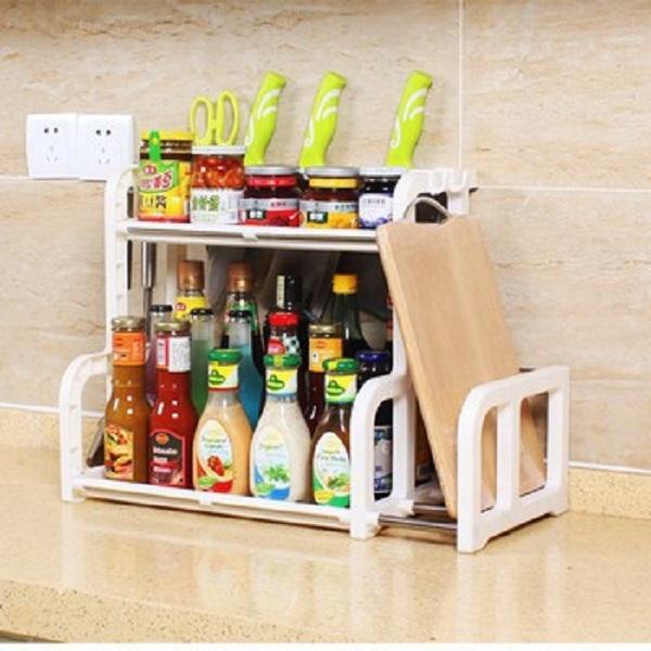Kệ Đựng Gia Vị Nhà Bếp Bằng Nhựa 2 Tầng Nhỏ Gọn - Tiện Dụng Hình Chữ H Kèm Giá Để Thớt