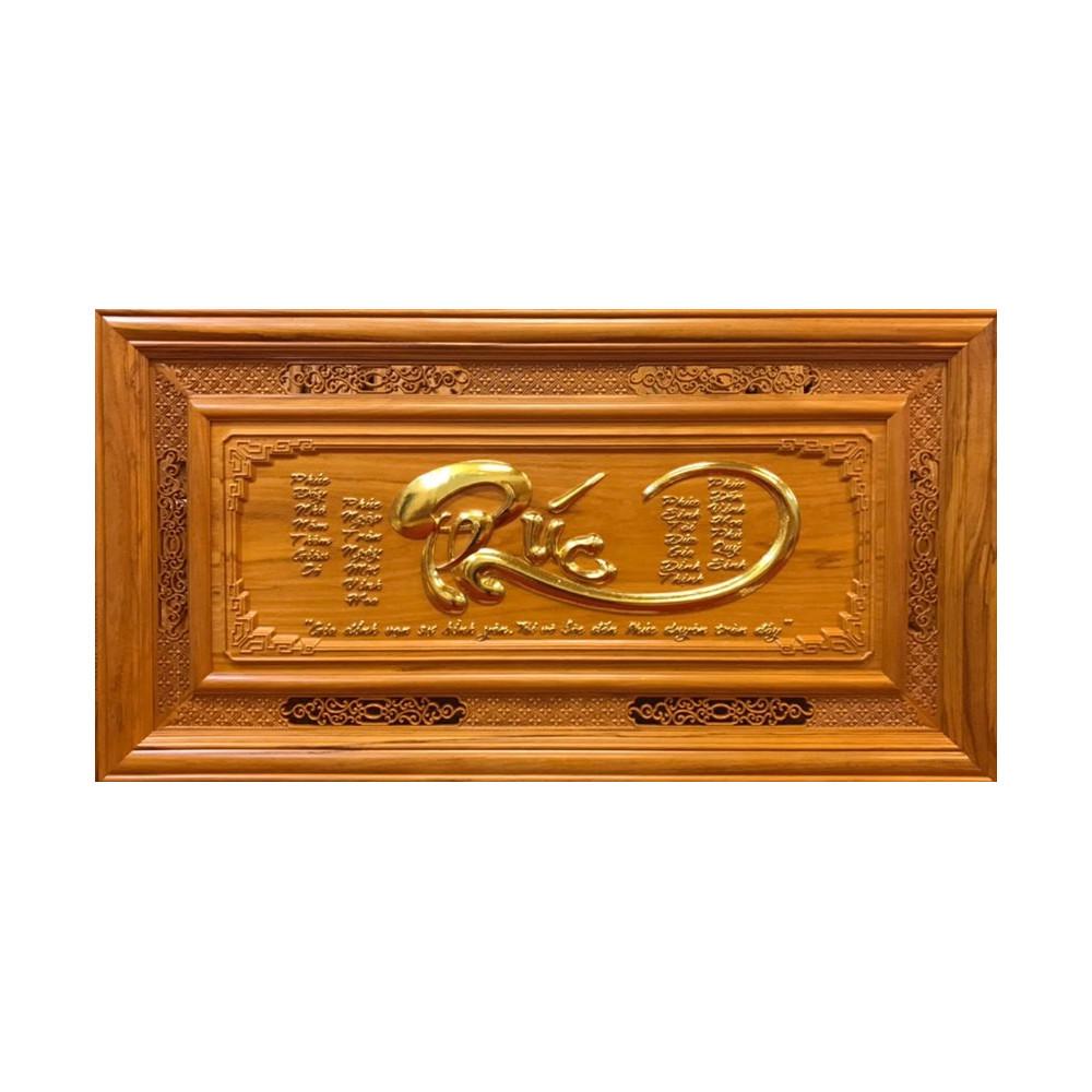 Tranh gỗ chữ Phúc - Gỗ Gõ Đỏ nguyên khối được đục chạm bằng tay tỉ mỉ sắc nét từng chi tiết nhỏ