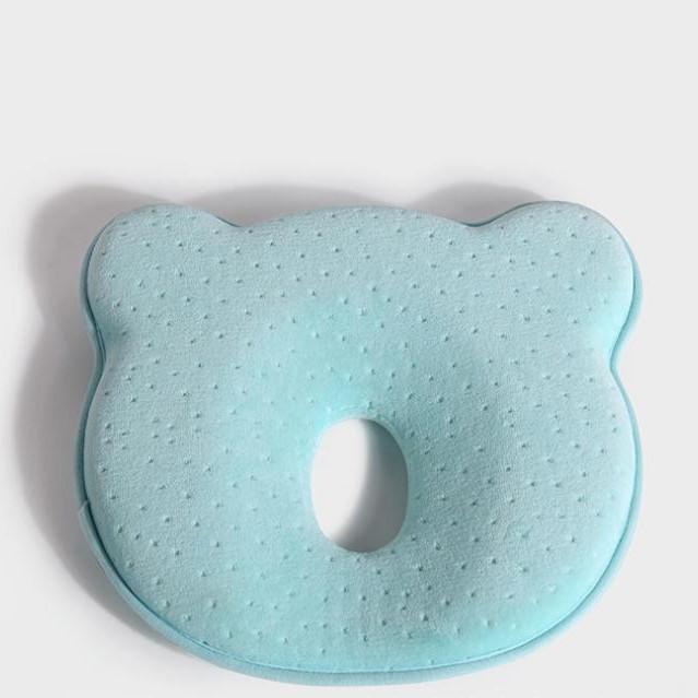 Gối chống bẹp đầu cho bé sơ sinh cao su non BY015 - Trắng xanh