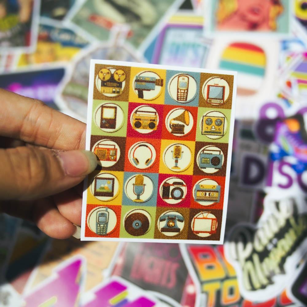 Set 100 sticker hình dán - Retro Vintage cổ điển
