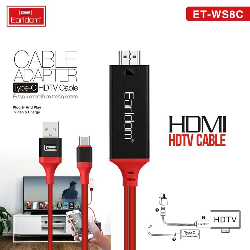 Cáp chuyển USB Type C sang HDMI 4K Earldom WS8C dài 2m (Iphone/Ipad to HDMI) - Hàng Chính Hãng