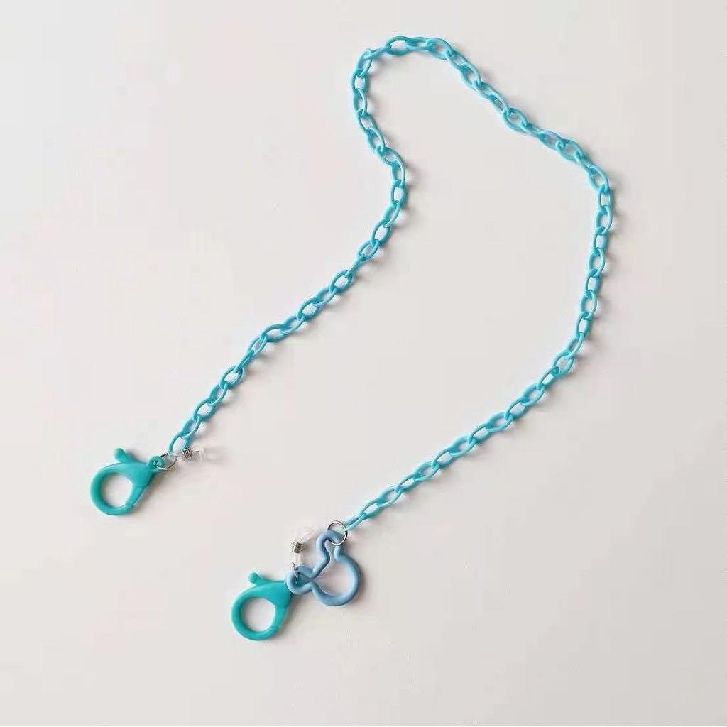 dây đeo khẩu trang, dây dù, dây vải, Dây đeo kính thời trang chống rơi rớt, 2 trong 1 - xích nhựa xanh