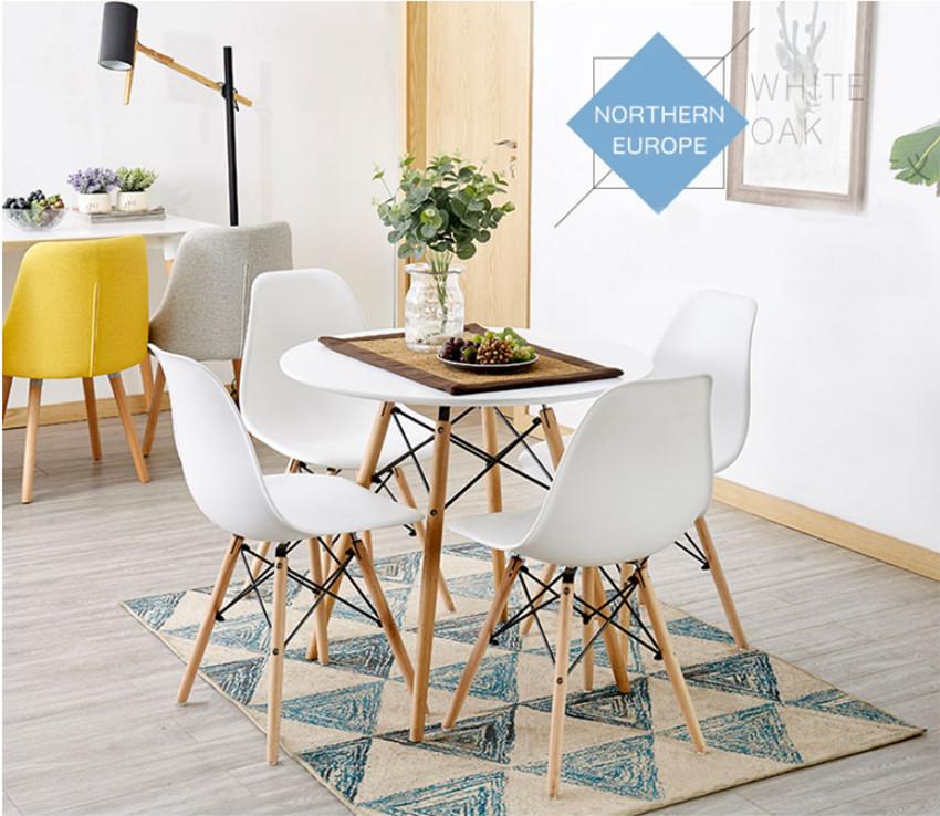 Combo Bộ bàn tròn Eiffel trắng và 4 ghế Eames