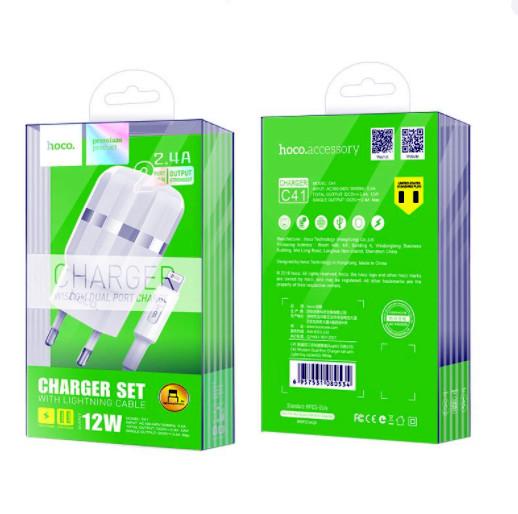 Bộ Cốc Và Cáp Sạc Nhanh 12W (2.4A) Cho IPhone,IPad 2 Cổng USB  - Hoco C41A - Hàng Chính Hãng