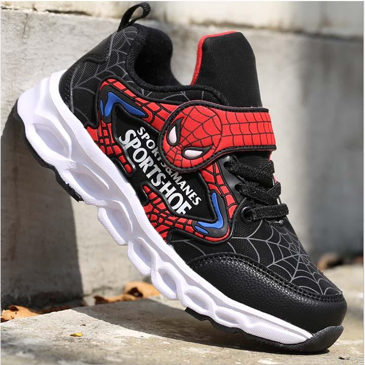 Giày Thể Thao Trẻ Em Họa Tiết Spider Man Đế Cao Su Nhiệt Dẻo Siêu Êm Chân Thể Thao Gọn Nhẹ Năng Động Phù Hợp Cho Trẻ Từ 4 Đến 12 Tuổi Nhiều Size Lựa Chọn