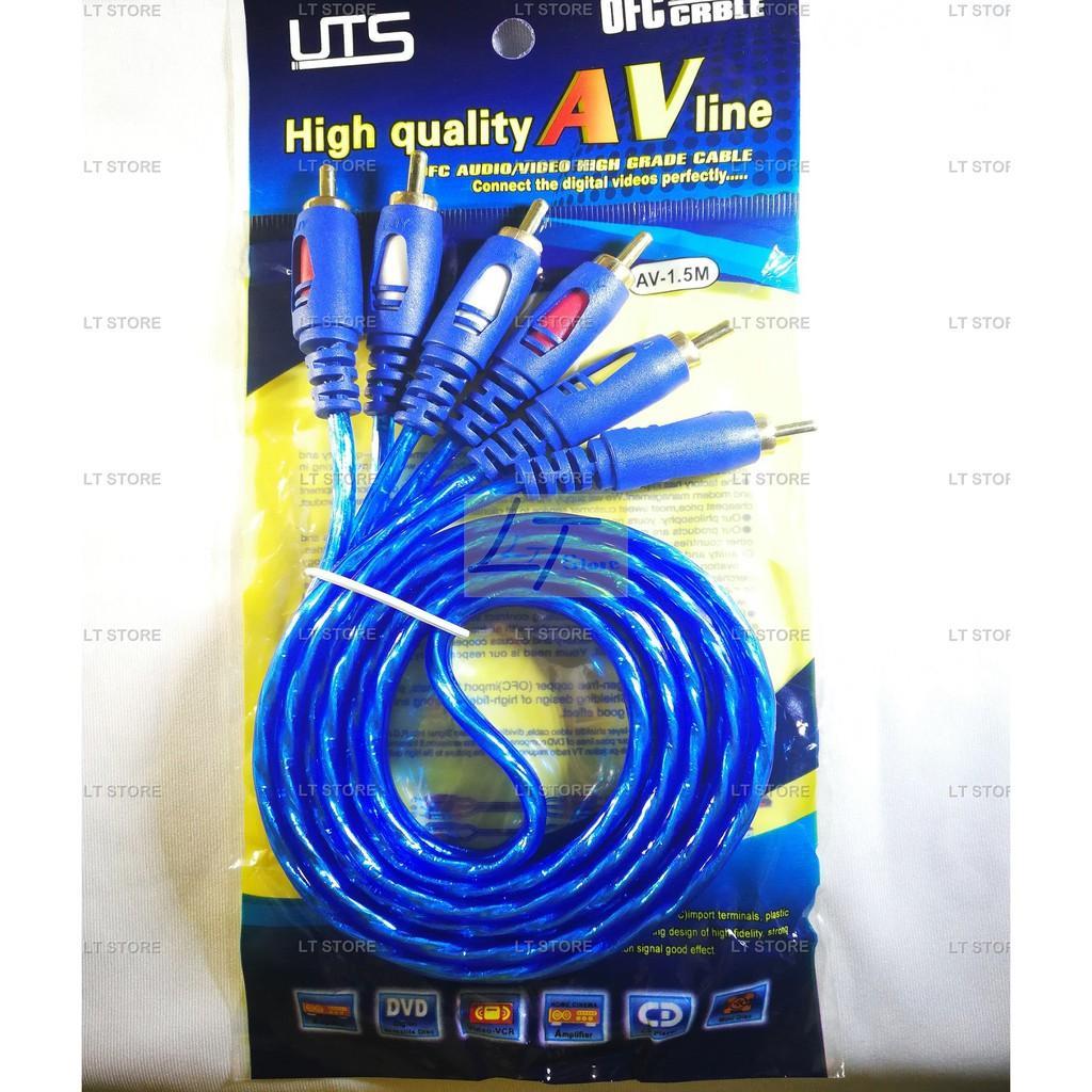 Cáp AV 6 đầu bông sen dài 1.2M bọc nhựa chống nhiễu