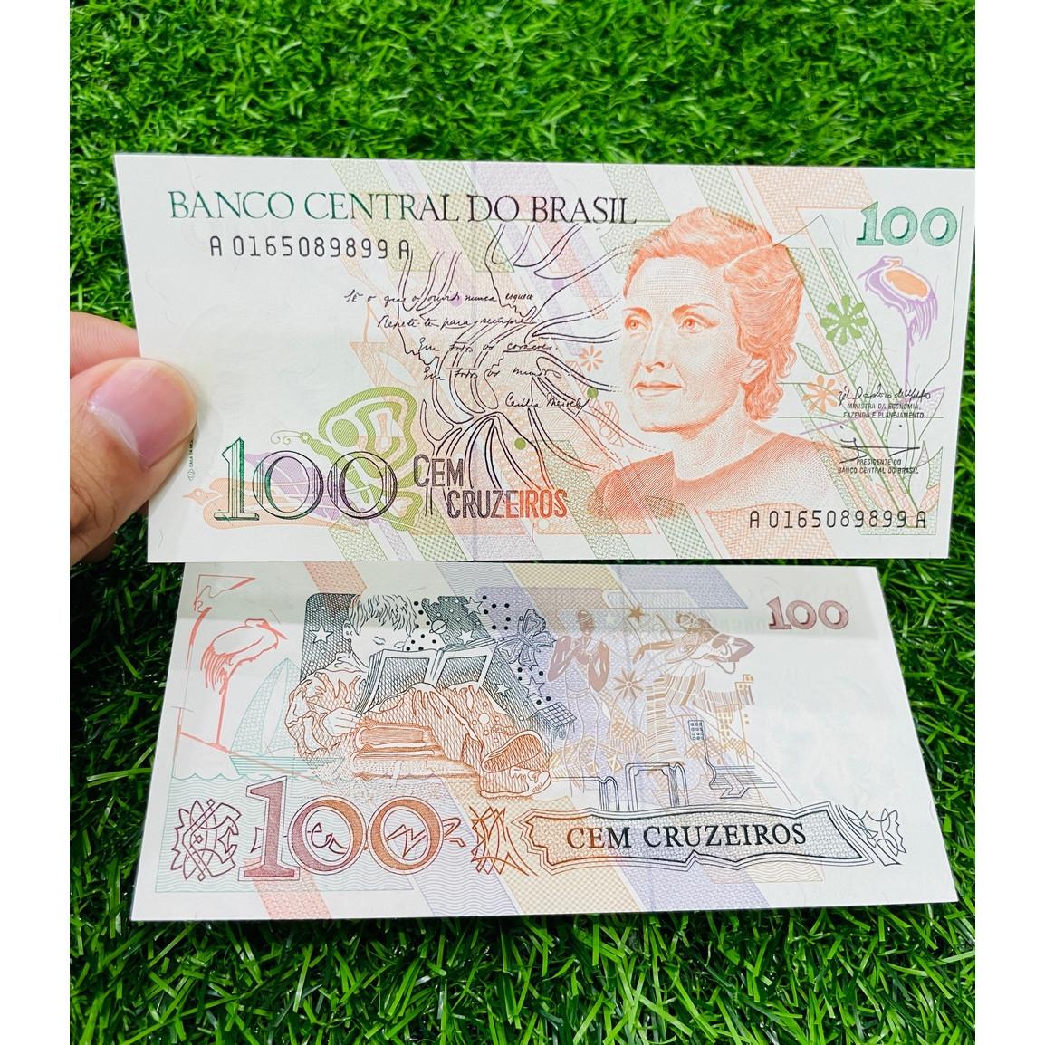 Tiền Brazil 100 Cruzeiros xưa, hình người phụ nữ và em bé học bài, mới 100% UNC, tặng túi nilon bảo quản The Merrick Mint