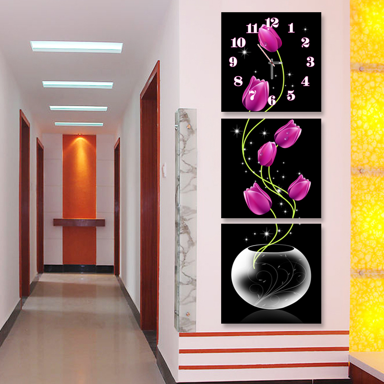 Tranh treo tường, tranh đồng hồ PP_ NT412 bộ 3 tấm ghép