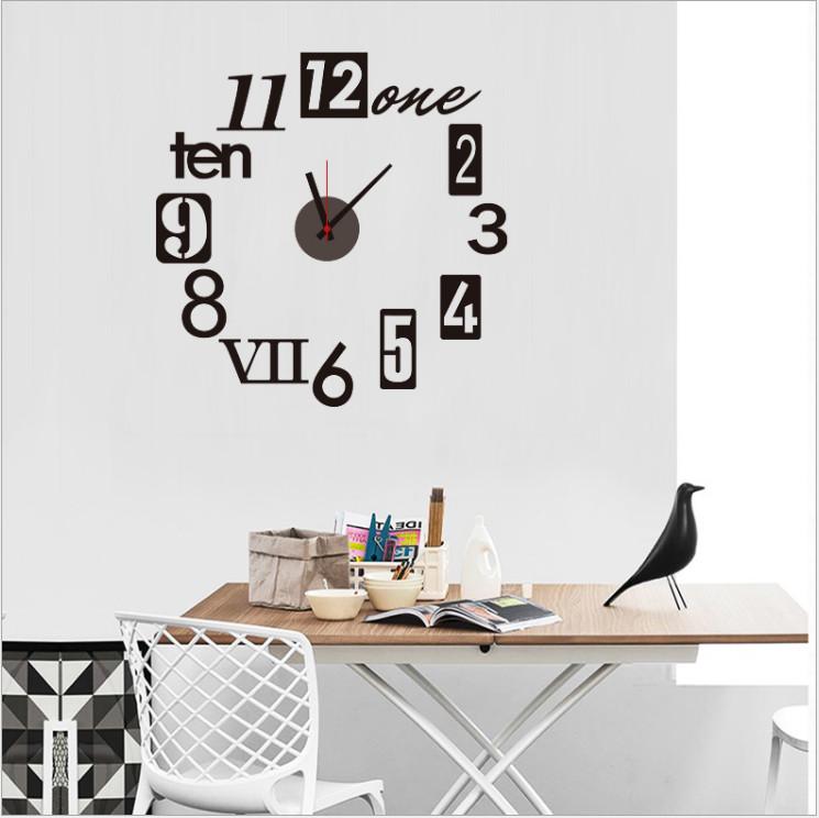 Đồng hồ dán tường kèm decal trang trí họa tiết tối giản, sang trọng độc đáo (55 x 55 cm)
