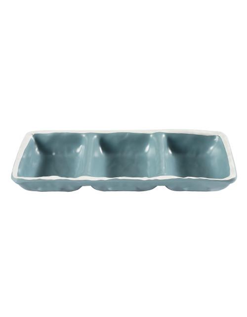 Chén chấm 3 ngăn màu xanh có viền trắng bằng melamine