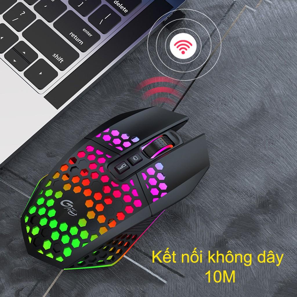 Chuột không dây chơi game HXSJ X801 thiết kế độc lạ Led RGB đổi màu click chống ồn DPI 1600 - Hàng chính hãng