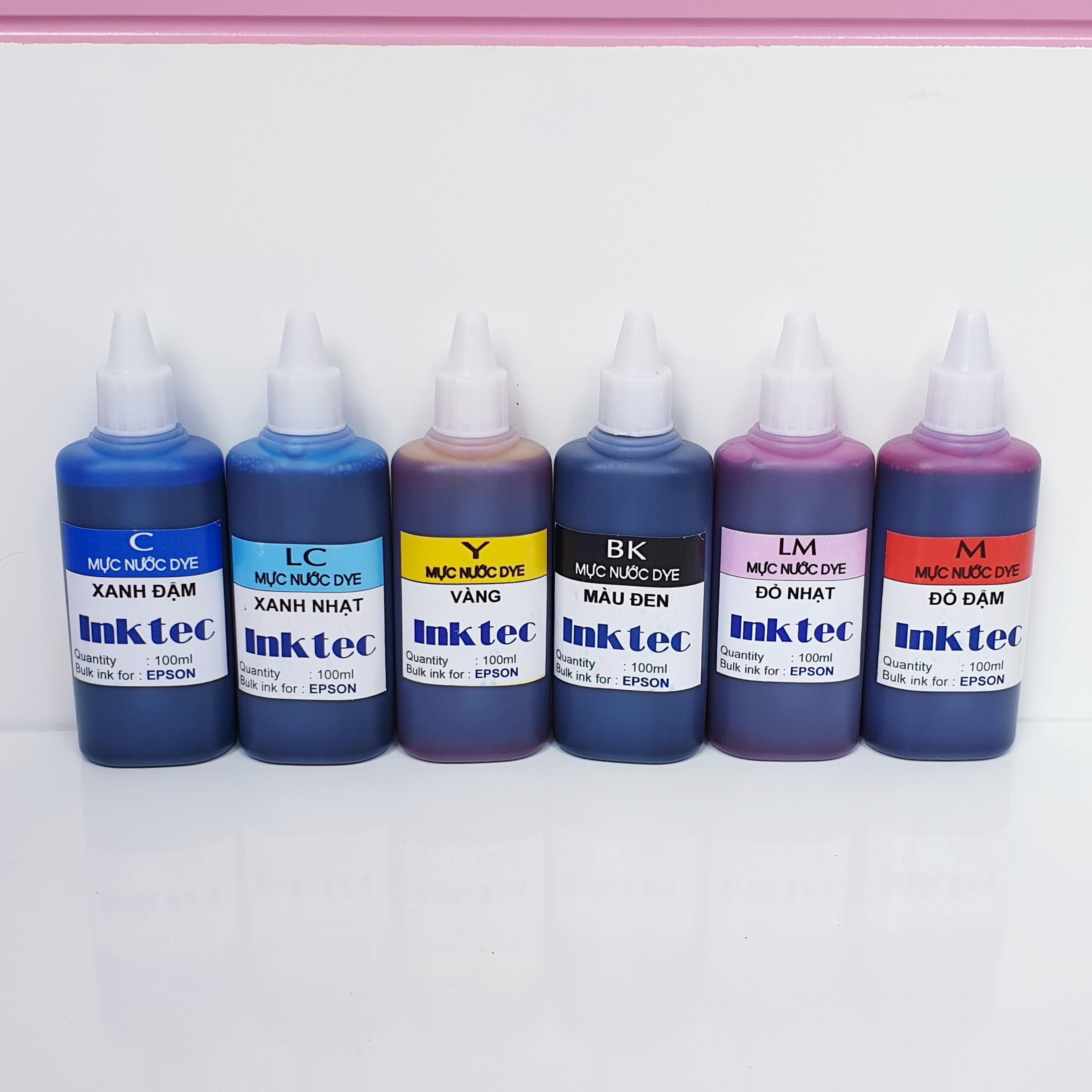 Bộ 6 màu - Mực nước inktec dùng cho máy in phun màu Epson - Loại 100ml - Hàng chính hãng