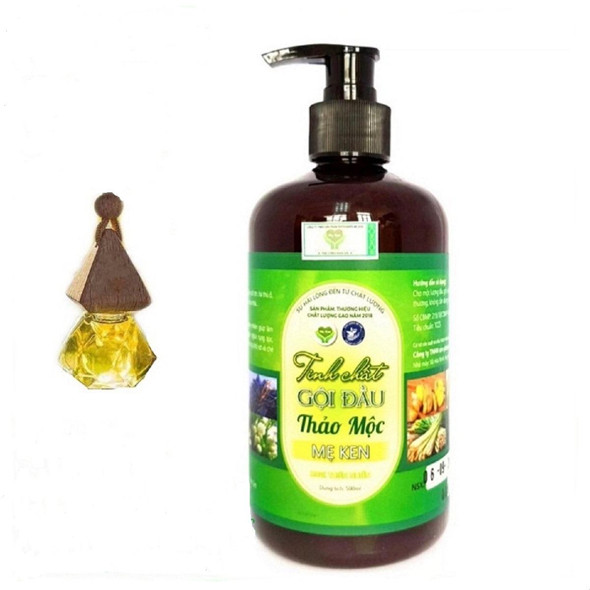 Tinh chất dầu gội đầu thảo mộc dưỡng tóc MẸ KEN chai 500 ml tặng tinh dầu sả chanh mẹ ken treo xe
