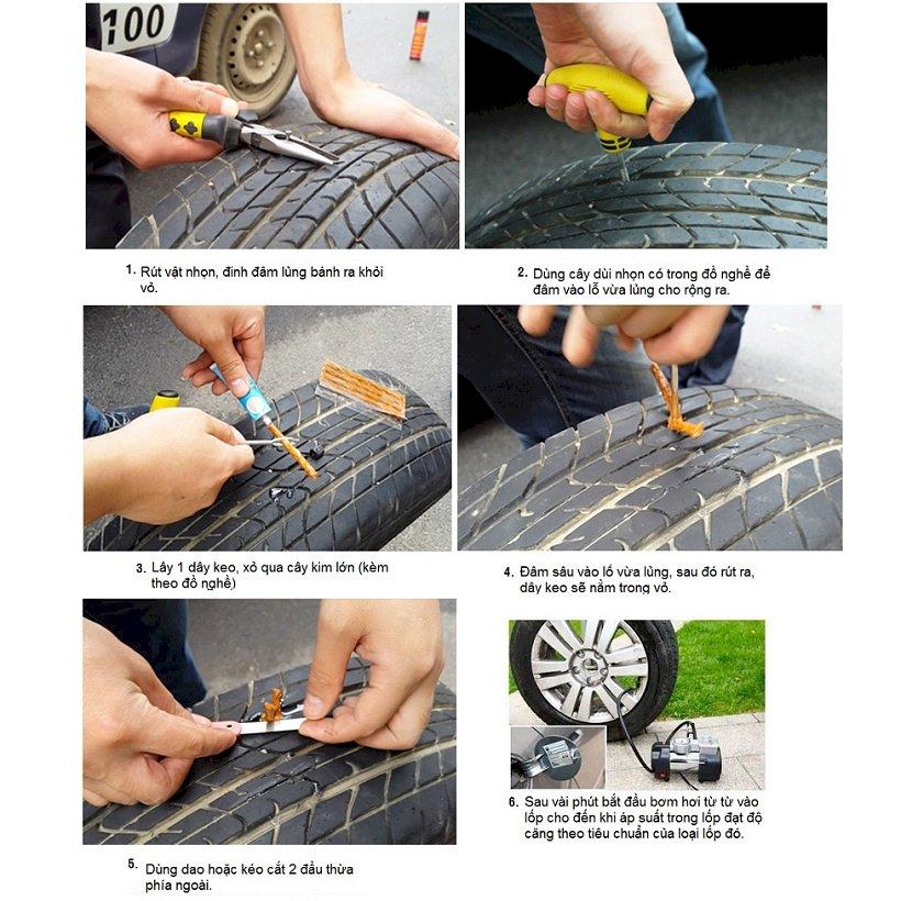 Bộ tự vá lốp không săm cao cấp tiện ích cho xe máy xe hơi