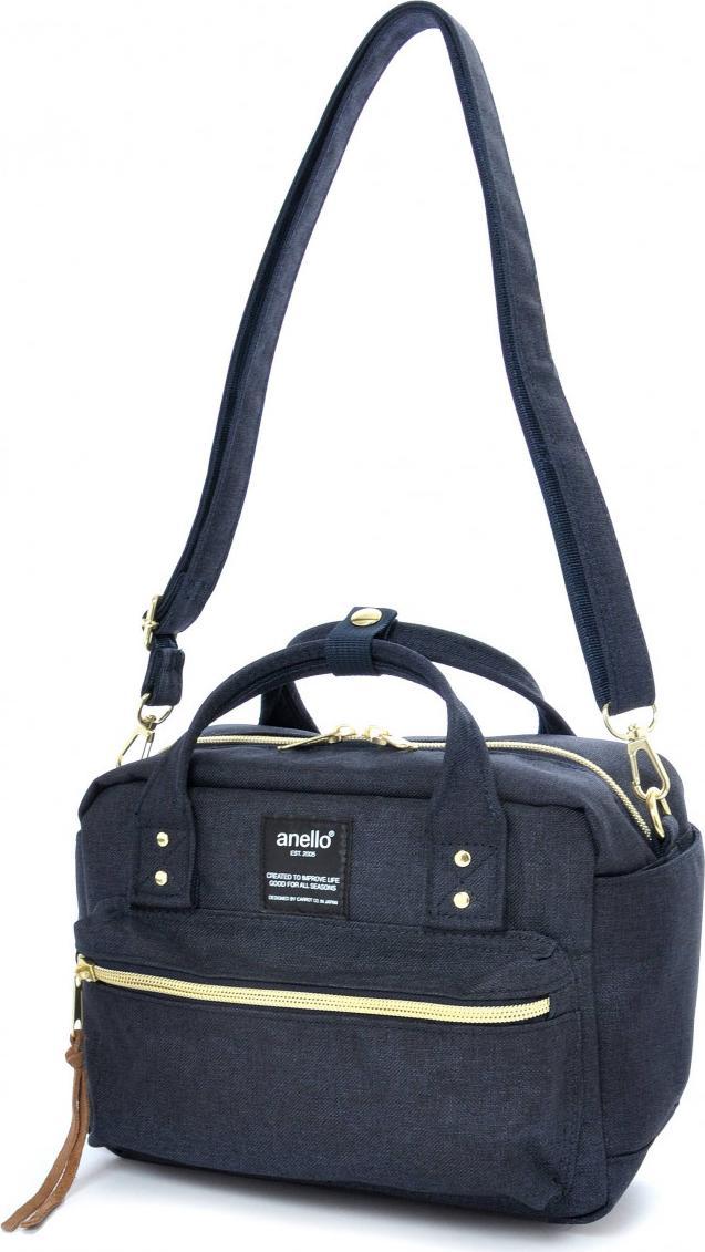 Túi đeo chéo ANELLO đeo 2 kiểu vải polyester cỡ nhỏ AT-C1223 - Màu Xanh Navy