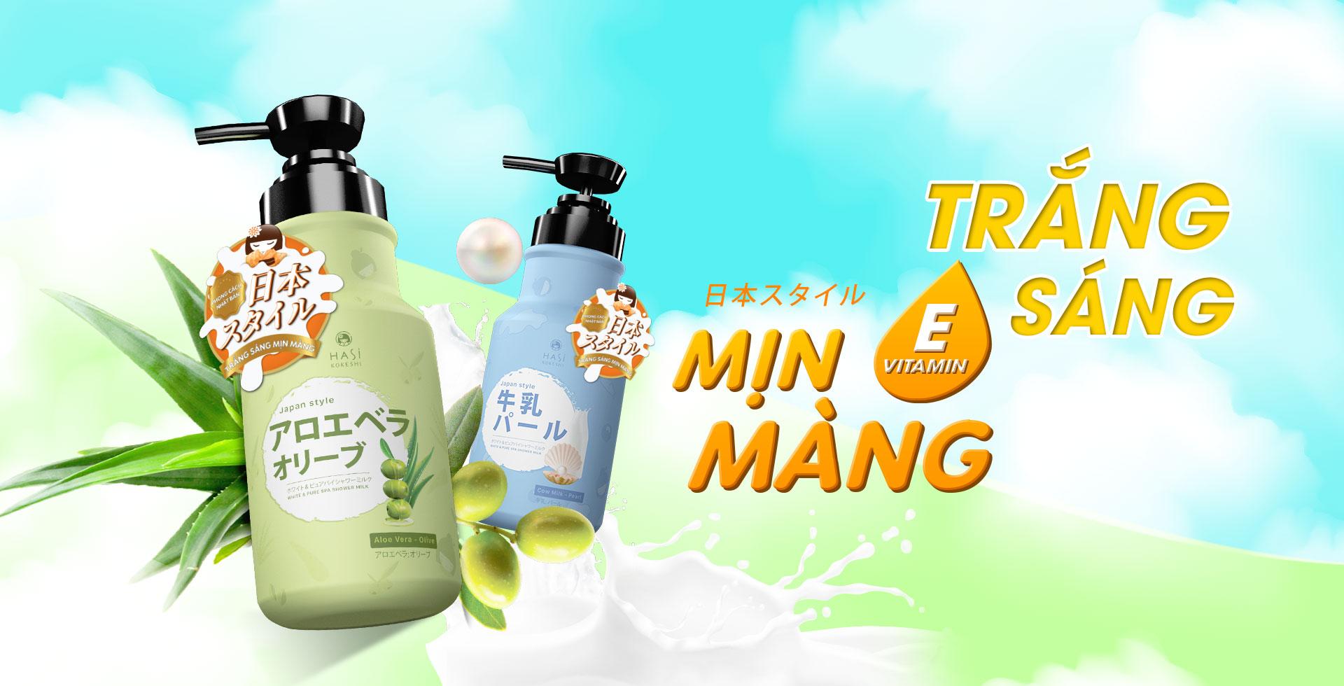 COMBO GIFT SET Sữa tắm Hasi Kokeshi dưỡng trắng da chiết xuất Nha đam-Olive 600ml & Bông tắm