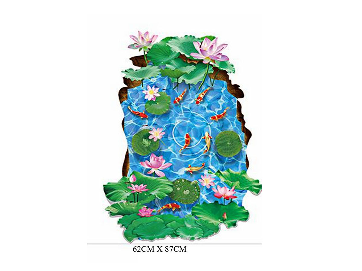 decal dán tường đầm cá sen hồng xl8305