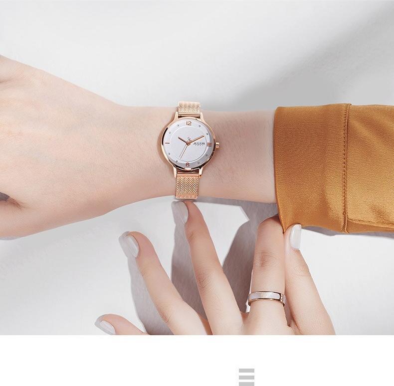 Đồng hồ nữ Julius Hàn Quốc JA-1251C dây thép ( đồng hồng)