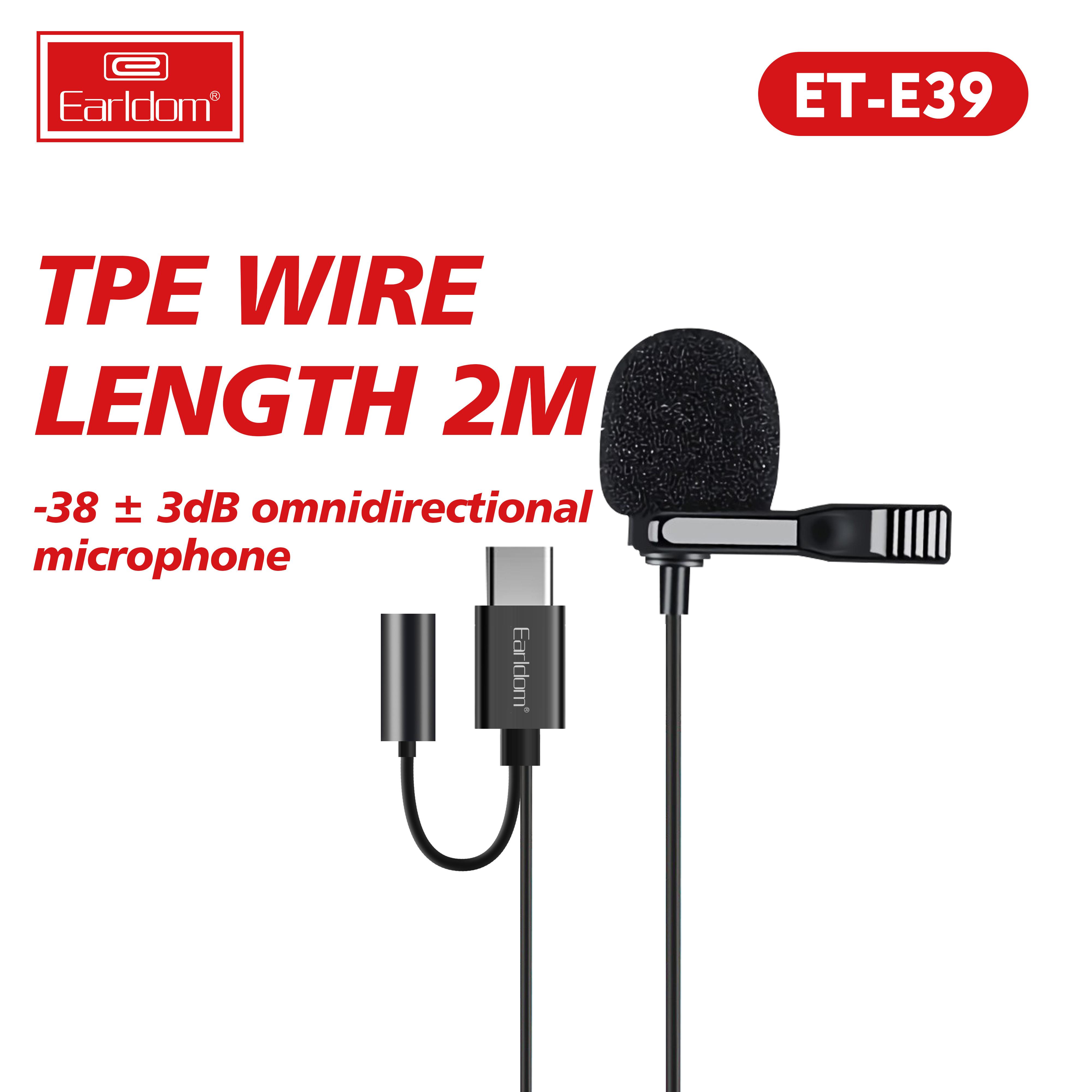 Mic Thu Âm Mini Cho Điện Thoại Chân Type C kèm Jack Cắm Tai Nghe Earldom E39 Lọc nhiễu tốt ghi âm chuẩn-Hàng chính hãng.
