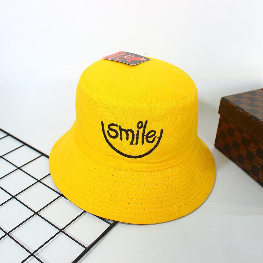 Mũ Nón Bucket Tai Bèo 2 Mặt Thêu Chữ Smile Dễ Thương, Vải Cotton, Nón Unisex Cho Cả Nam Và Nữ-Nhiều Màu