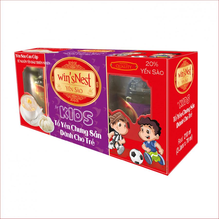 Yến sào cao cấp  winsNest kids 20 tổ yến chưng sẵn dành cho trẻ em 3Lọ Lốc hương vị vani sản phẩm thích hợp cho trẻ em từ 1 tuổi trở lên.