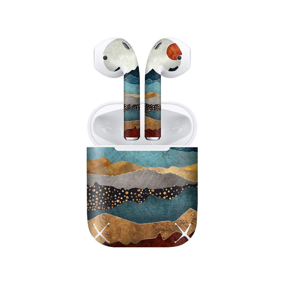 Miếng dán skin chống bẩn cho tai nghe AirPods in hình hoàng hôn hổ phách giả sơn mài - GSM180 (bản không dây 1 và 2)