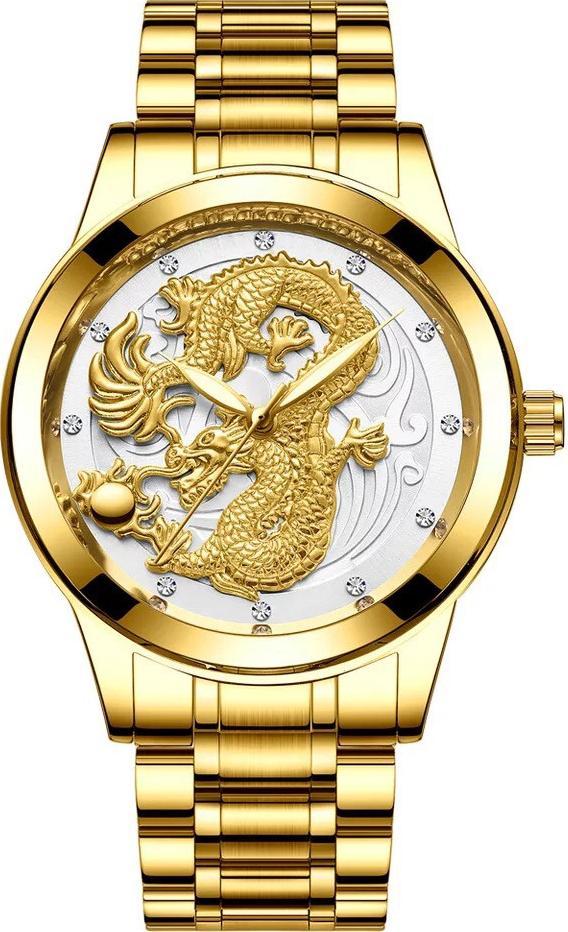 Đồng Hồ Nam Fngeen Rồng Vàng 3D Dây Thép Đúc Không Gỉ Sang Trọng Cao Cấp F202