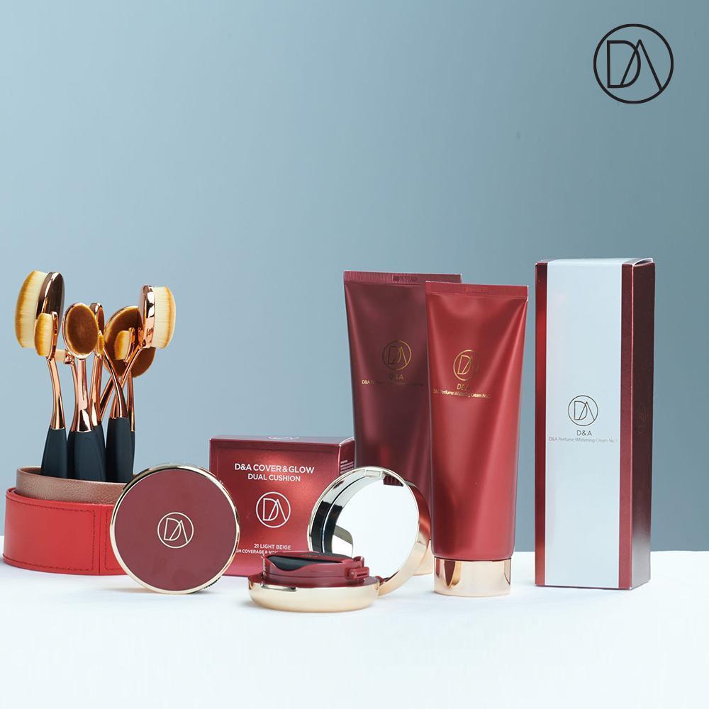 Sản phẩm trang điểm D&A ( Phấn nước COVER&GLOW DUAL LIGHT BEIGE , Kem dưỡng da Perfume Whitening Cream 01)