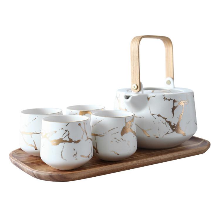 Bộ ấm trà GOLD MARBLE COASTERS