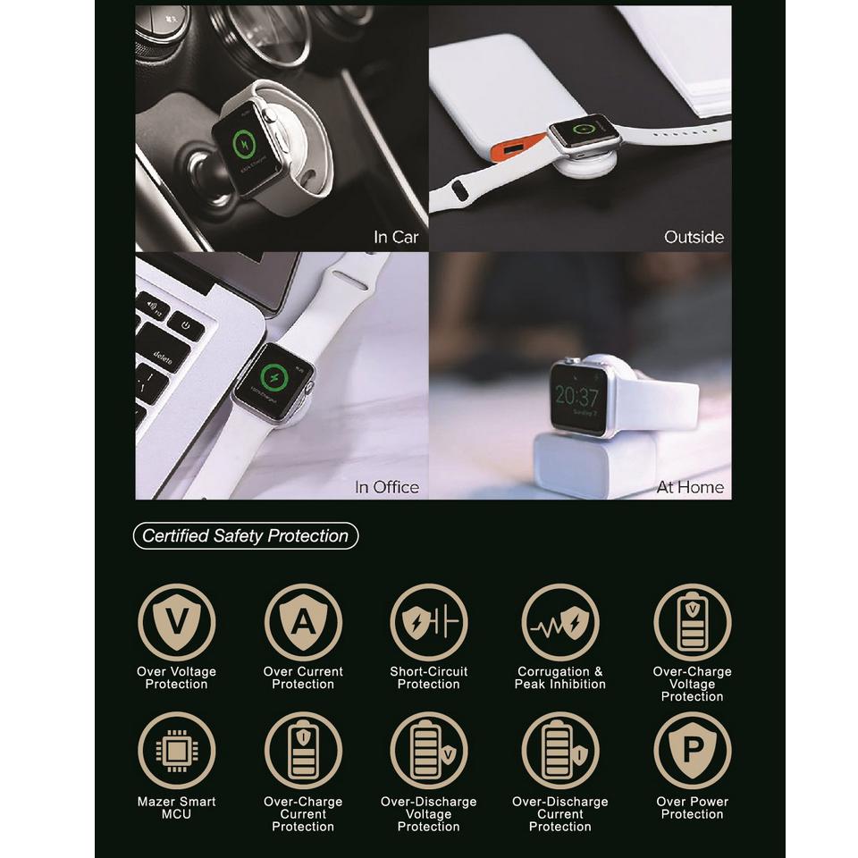 Sạc Không Dây Mazer MFW Dành cho Apple Watch Direct USB-A Charger - Hàng chính hãng
