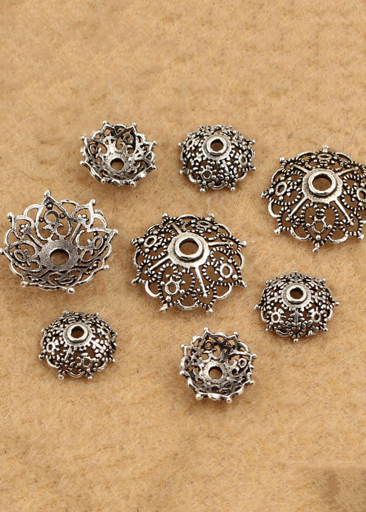 Combo 6 charm bạc chụp hạt, bọc hạt họa tiết lưới Torus - Ngọc Quý Gemstones
