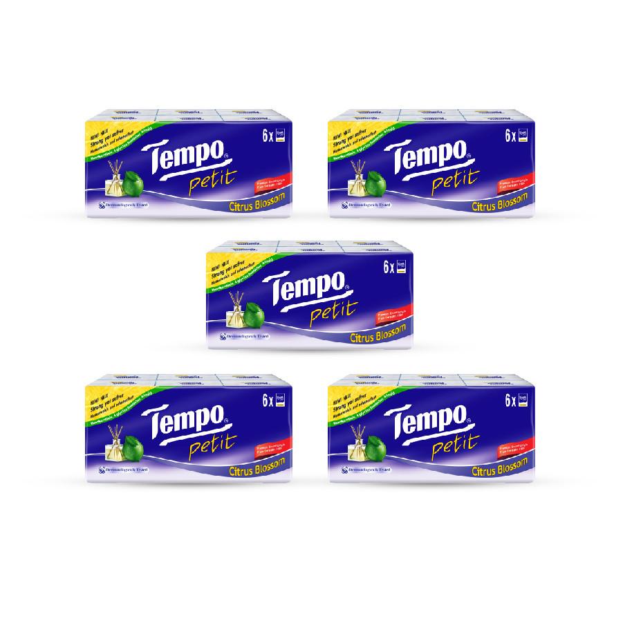 Combo 5 lốc Khăn giấy Tempo Petit Citrus Blossom (Lốc 6 gói)
