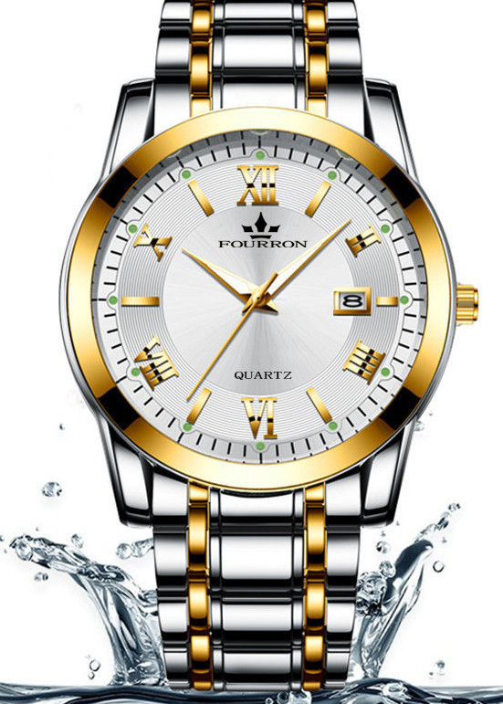 Đồng hồ nam FOURRON F1128 santafe watch 2020 Lịch ngày dây thép không gỉ cao cấp