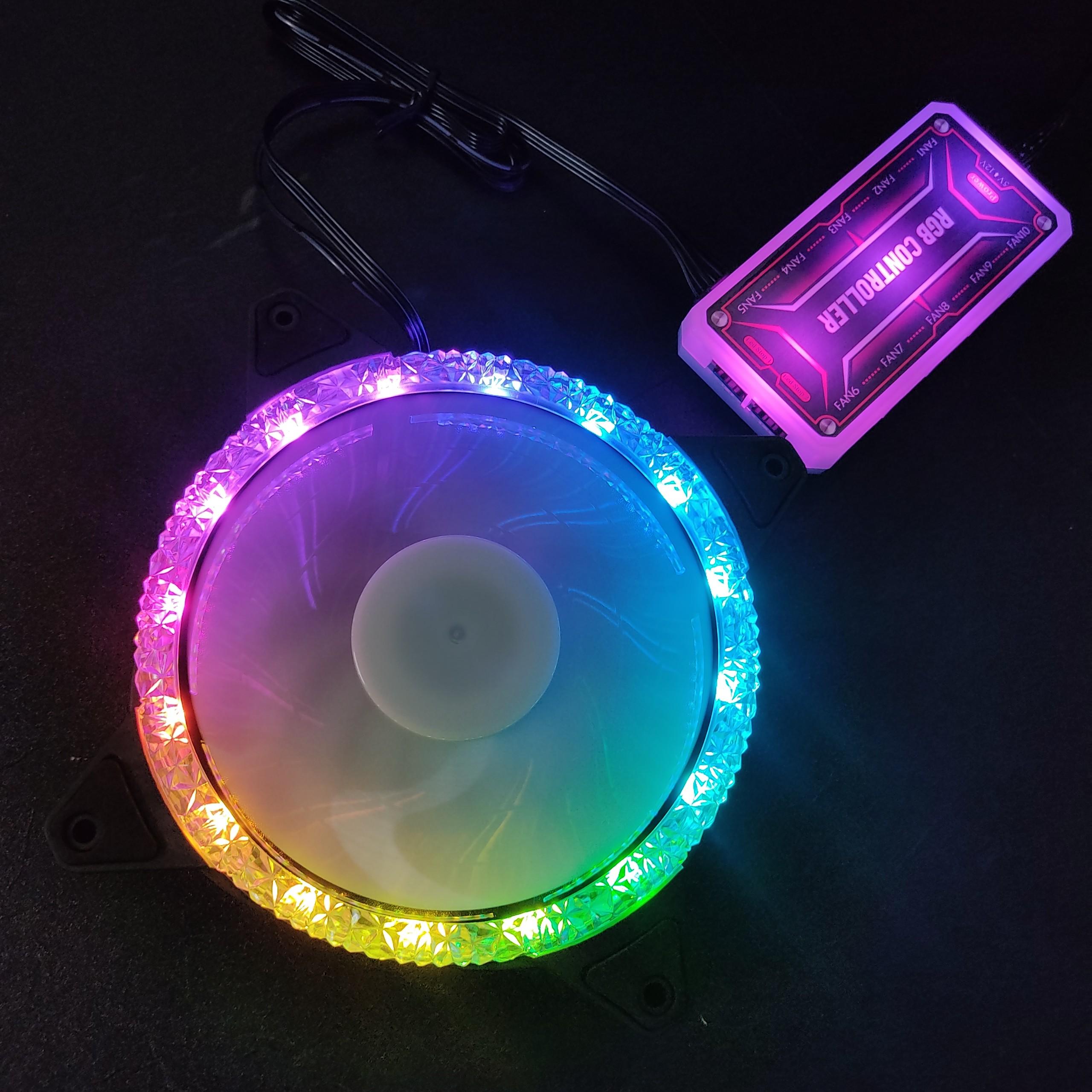 Quạt tản nhiệt, Fan Case KNC Diamond ARGB Dual Ring, chưa kèm bộ Hub khiển led RGB