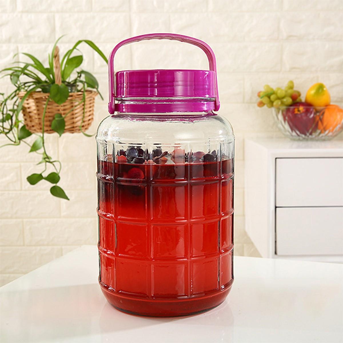 Bình ngâm rượu thủy tinh Nắp tím có van ngâm sâm, đinh lăng, táo mèo, nấm linh chi, hoa quả