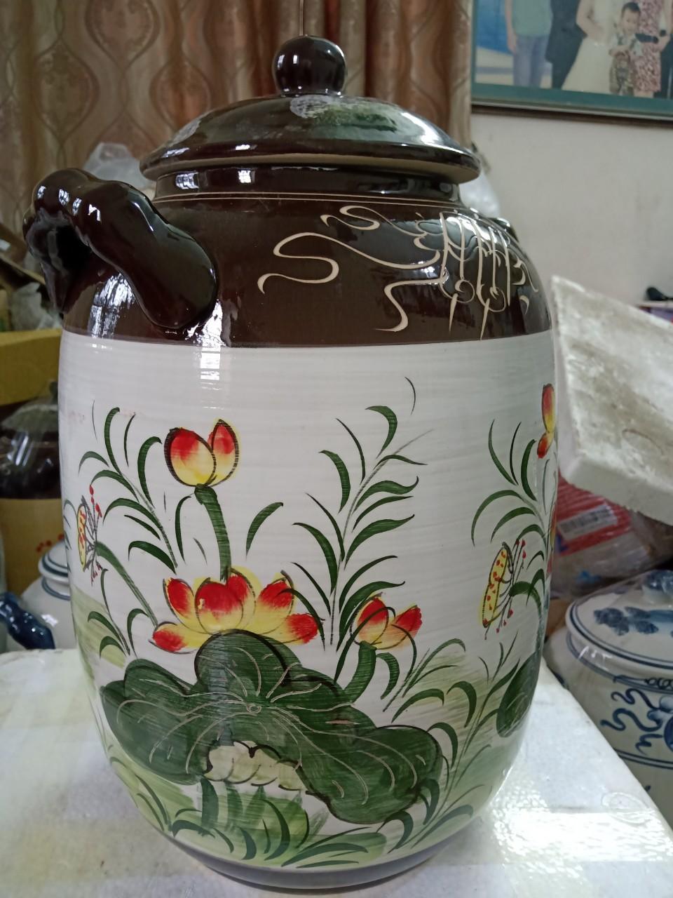Hũ đựng rượu gạo gốm sứ Bát Tràng vẽ sen cá vàng loại 15L