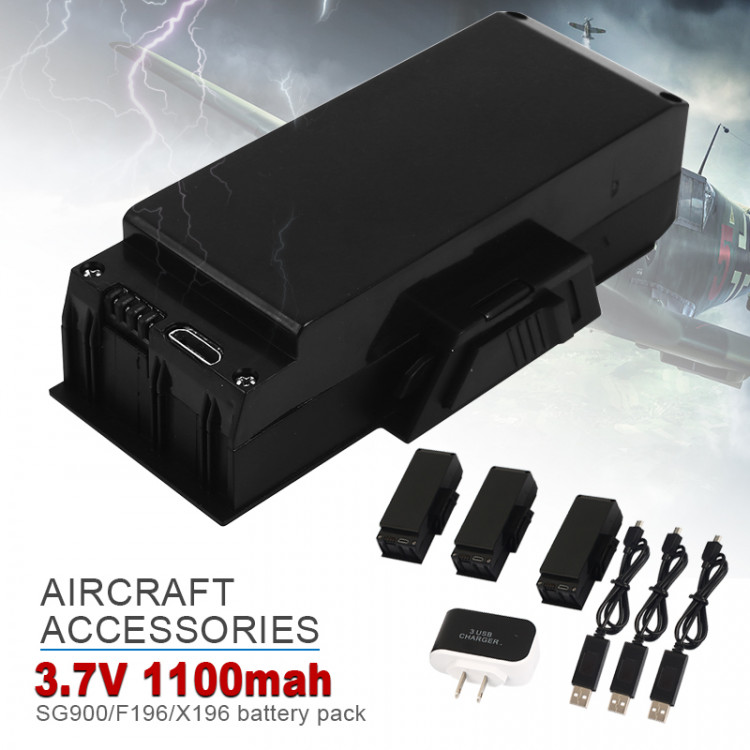 3x 3 7v 1100mAh Li Drone Battery Spare Accessories Helicopter + Charger  Replacement High Capacity for SG900/F196/X196