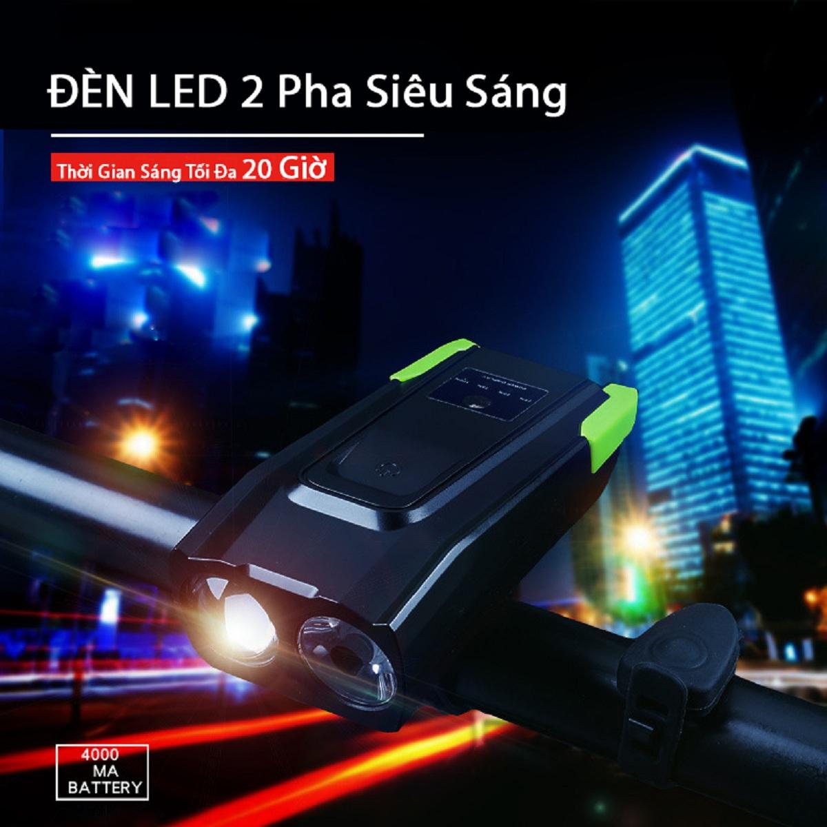 Đèn Pha Xe Đạp Kết Hợp Còi CRON-X JEANS | Đèn 2 LED Cree T6 Siêu Sáng 800 Lumens, Thiết Kế Chống Nước | Còi Kêu Vang 140 dB | Pin Sạc USB Tiện Lợi Dung Lượng 4000 mah | Chế Độ Đèn Tự Điều Chỉnh Ảnh Sáng Thông Minh | Thời Gian Sáng Tối Đa 20 Giờ