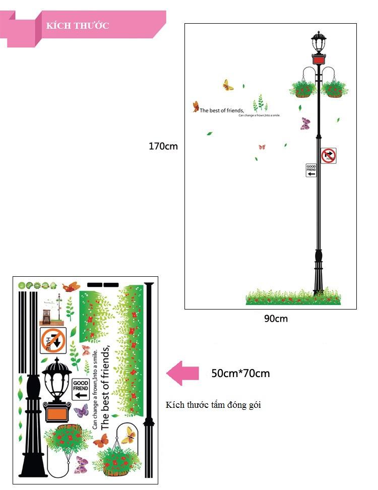 Decal dán tường cột đèn dễ thương AmyShop DKN092 (170x90cm)