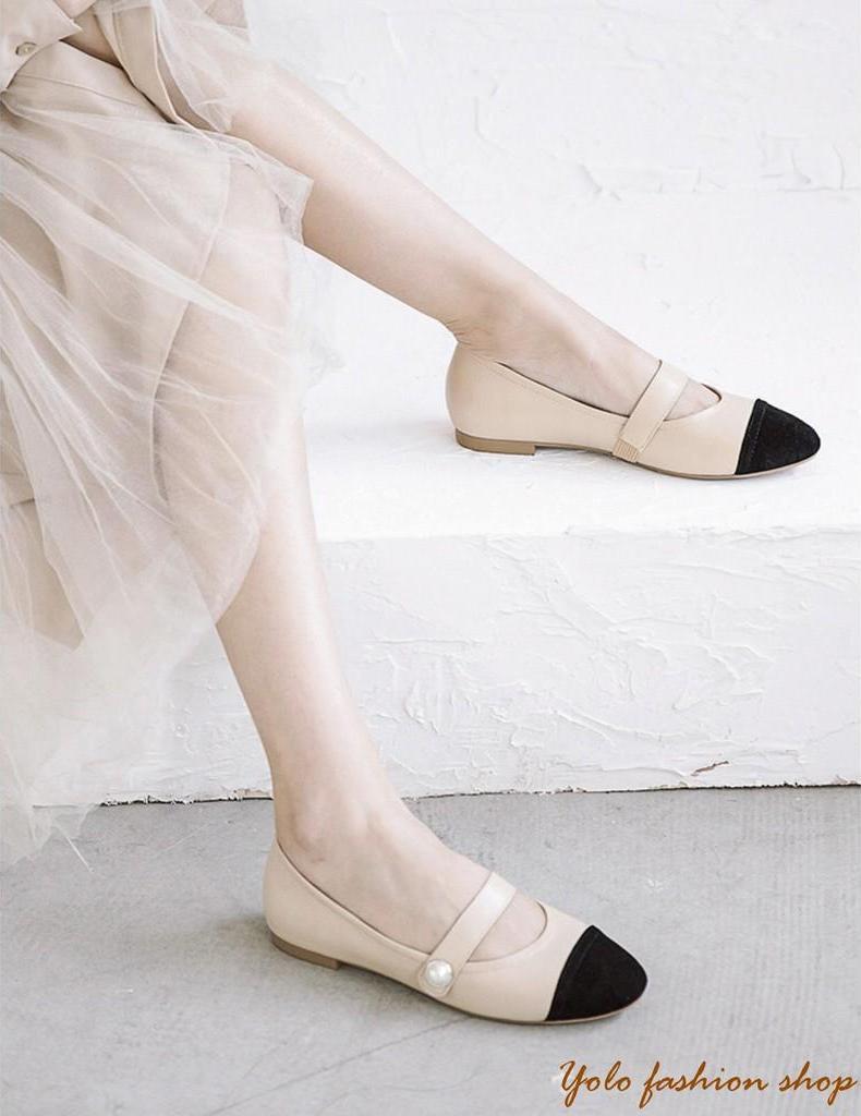 Hình thật-B3-Giày bệt búp bê nữ phối màu đính ngọc siêu xinh