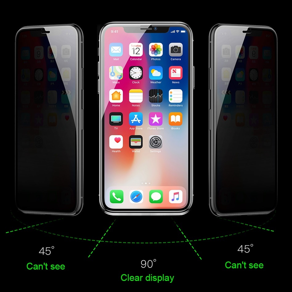Bộ 2 Miếng dán kính cường lực chống nhìn trộm cho iPhone 11 Pro Max 6.5 / iPhone Xs Max hiệu Baseus (mỏng 0.3mm, Chống bụi màng loa, cảm ứng mượt mà, độ trong tuyệt đối, chống mọi va đập) - Hàng nhập khẩu