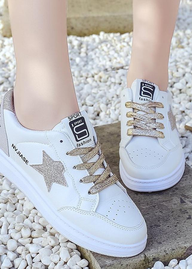 Giày sneaker nữ Màu Trắng hình ngôi sao trẻ trung LA2526