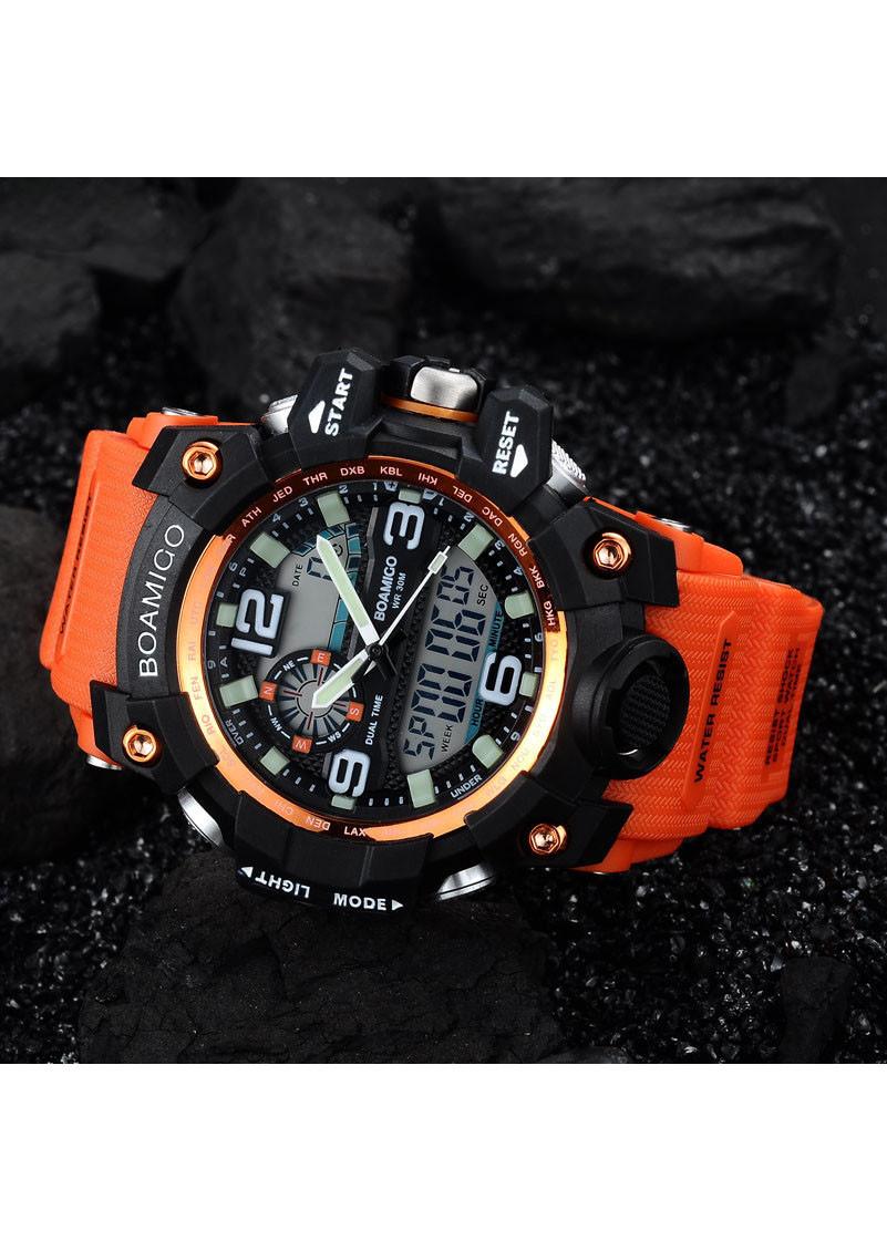 Đồng hồ thể thao kỹ thuật số đèn LED điện tử BOAMIGO màu cam trẻ trung năng động- Hàng nhập khẩu