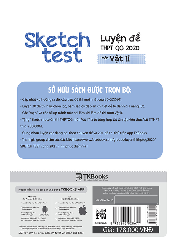 Sách Sketch Test Luyện Đề THPT QG 2020 Toán, Vật Lý, Hóa Học, Vở 72 trang, Sketch Note, Tổng hợp các đề thi thử cập nhật mới nhất